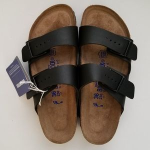 Birkenstock Arizona Black Soft Footbed Sandals 36